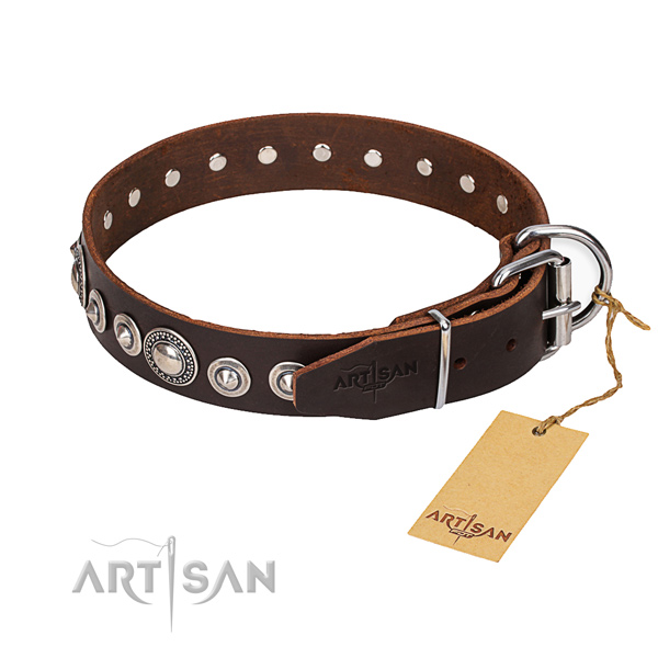 Full grain leather dog collar made of soft material with rust-proof D-ring