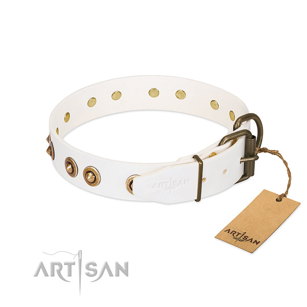Rust-proof hardware on full grain natural leather dog collar for your dog