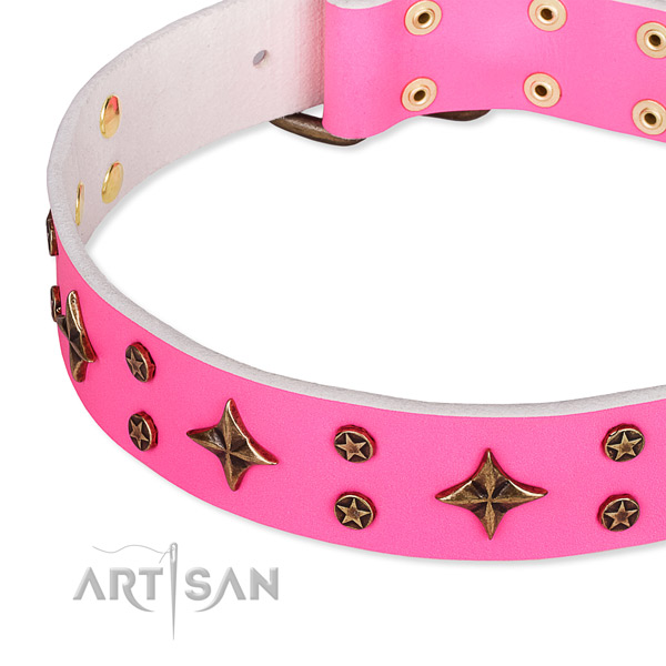Easy wearing decorated dog collar of top notch natural leather
