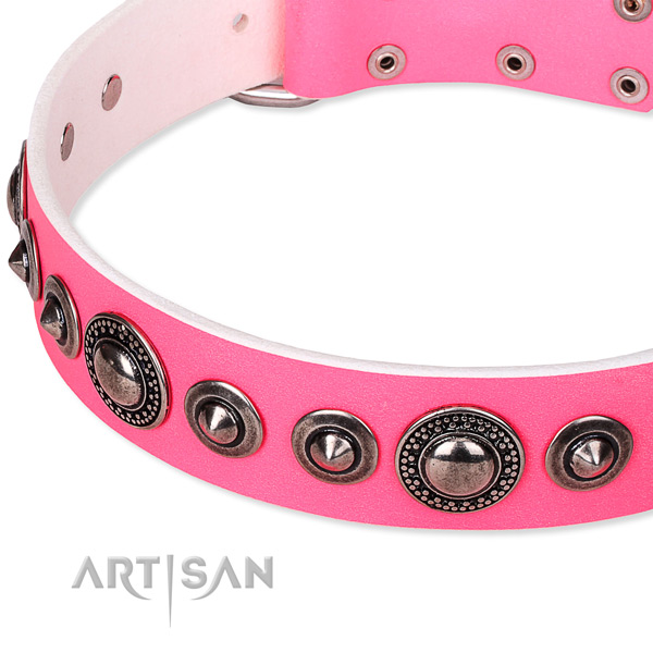 Easy wearing studded dog collar of best quality full grain genuine leather