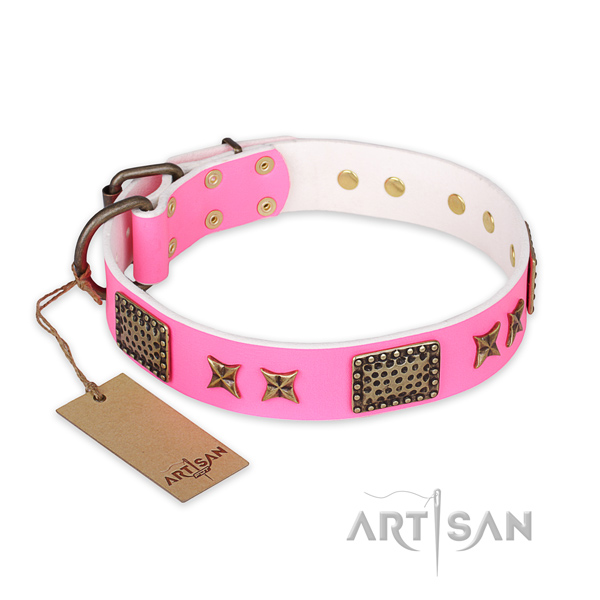 Extraordinary genuine leather dog collar with corrosion proof traditional buckle