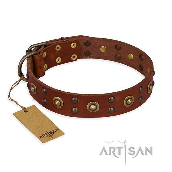 Stylish design full grain natural leather dog collar with rust-proof D-ring