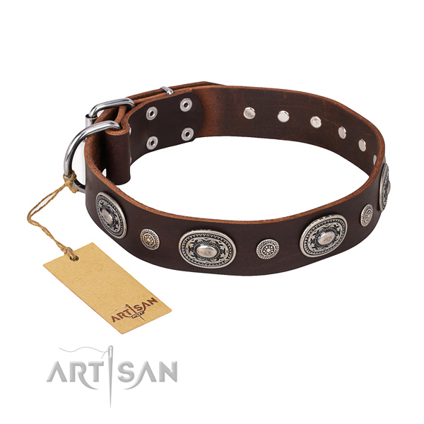 Flexible full grain genuine leather collar handcrafted for your pet