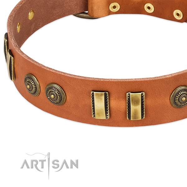 Rust-proof traditional buckle on full grain genuine leather dog collar for your dog