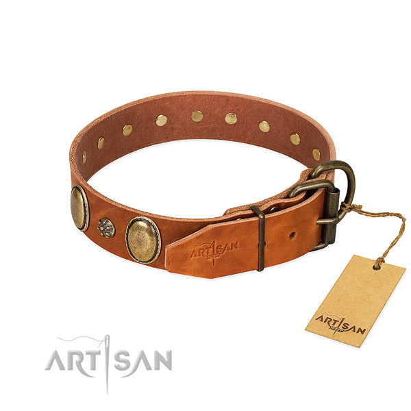 Handy use best quality genuine leather dog collar