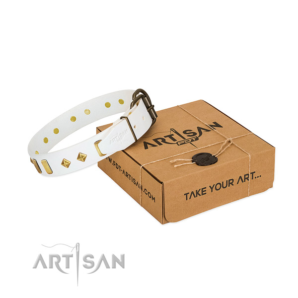 Soft to touch natural leather dog collar with rust resistant fittings