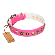 """Pawty Time"" FDT Artisan Pink Leather Labrador Collar with Decorative Skulls and Brooches"