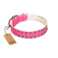 """Blushing Star"" FDT Artisan Pink Leather Labrador Collar with Two Rows of Small Studs"