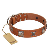 """Amorous Escapade"" Embellished FDT Artisan Tan Leather Labrador Collar with Chrome Plated Crossbones and Plates"