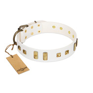 """Wintertide Mood"" FDT Artisan White Leather Labrador Collar with Old Bronze-like Plates and Studs"