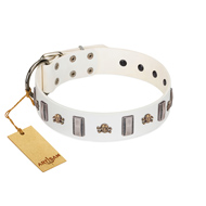 """Mysterious Voyage"" FDT Artisan White Leather Labrador Collar with Engraved Plates and Skulls"