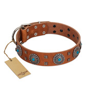 """Blue Sands"" FDT Artisan Tan Leather Labrador Collar with Silver-like Studs and Round Conchos with Stones"