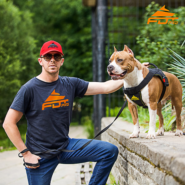 Men T-shirt of Strong Cotton with Orange Logo for Dog Trainers