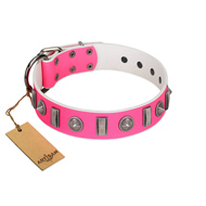 """Treasure Island"" FDT Artisan Pink Leather Labrador Collar with Silver-Like Studs"