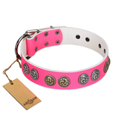 """Pink Butterfly"" Designer FDT Artisan Pink Leather Labrador Collar with Round Studs"