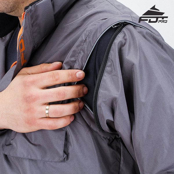 Top Notch Zipper on Sleeve for Pro Design Dog Tracking Jacket