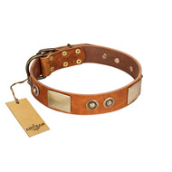 """Perfect Blend"" FDT Artisan Tan Leather Labrador Collar 1 1/2 inch (40 mm) wide"
