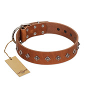 """Broadway"" Handmade FDT Artisan Tan Leather Labrador Collar with Dotted Pyramids"