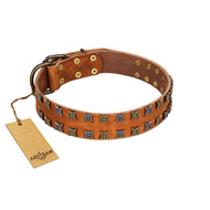 """Terra-cotta"" FDT Artisan Tan Leather Labrador Collar with Two Rows of Studs"