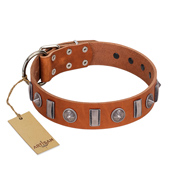"""Luxurious Necklace"" FDT Artisan Tan Leather Labrador Collar with Silver-Like Adornments"