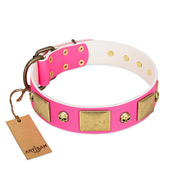 """Glammy Voyage"" FDT Artisan Pink Leather Labrador Collar with Stylish Bronze-like Decorations"