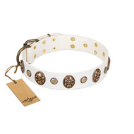 """Fatal Beauty"" FDT Artisan White Leather Labrador Collar with Old Bronze-like Studs and Oval Brooches"