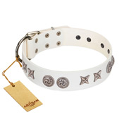 """Galaxy Hunter"" FDT Artisan White Leather Labrador Collar with Engraved Brooches and Stars"