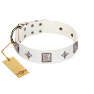 """Vanilla Ice"" FDT Artisan Handmade White Leather Labrador Collar with Silver-like Adornments"