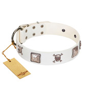 """Pirate Sloop"" Handmade FDT Artisan Designer White Leather Labrador Collar with Crossbones"