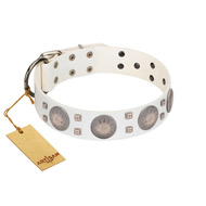 """Mighty Shields"" FDT Artisan White Leather Labrador Collar with Chrome Plated Shields and Square Studs"