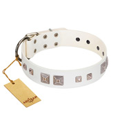 """Pure Quadratic"" Designer Handmade FDT Artisan White Leather Labrador Collar"