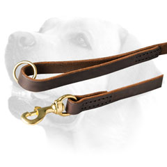 Stitched Leather Dog Leash For Labrador With Snap Hook