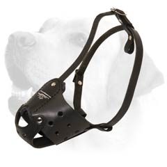 Walking Handcrafted leather Muzzle for Bulldog