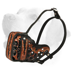 Handpainted Leather Dog Muzzle for Labrador